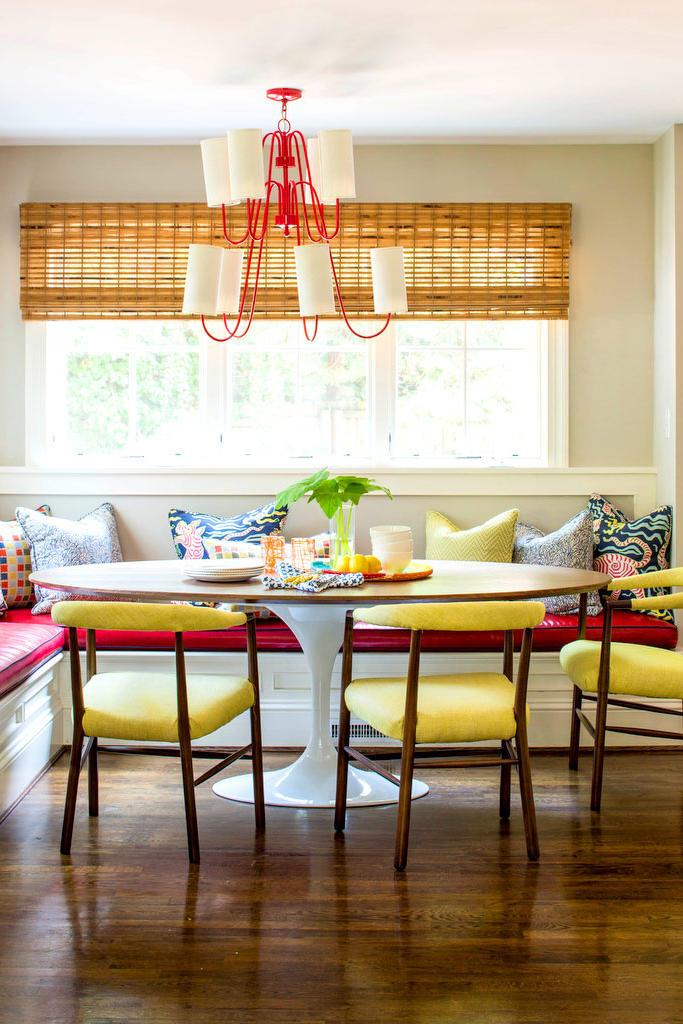 أحمر Banquette in Kitchen with Yellow Chairs