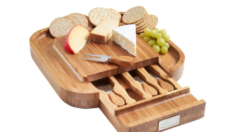 VonShef Slide Out Bamboo Cheese Board