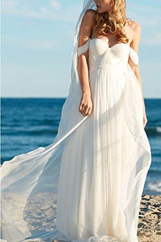 エンパイア Long Chiffon Bridal Beach Wedding Dress