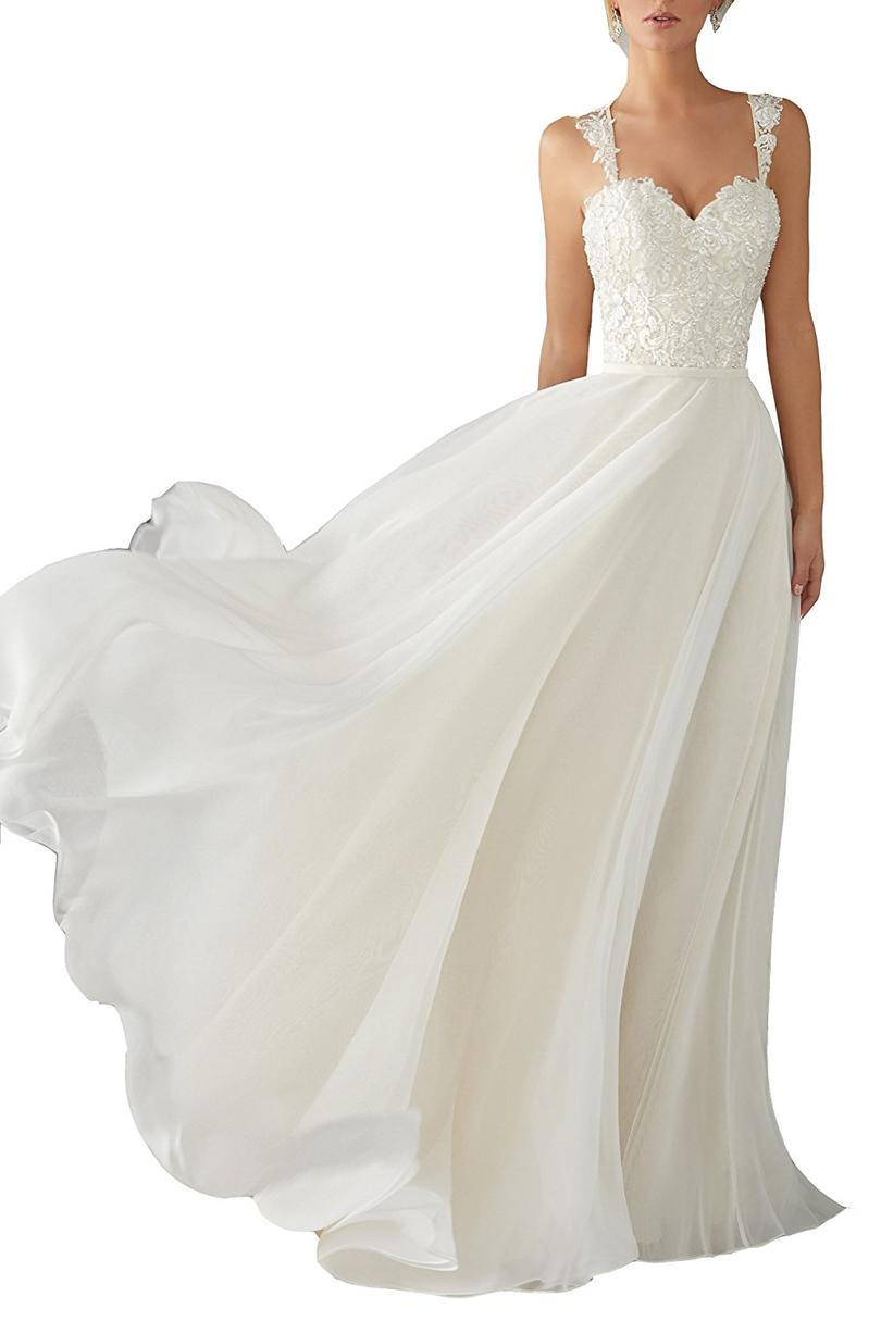 レース Chiffon Destination Wedding Dress