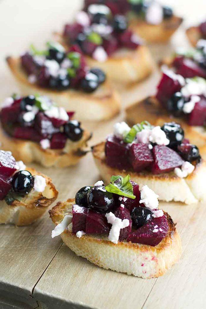 Beet and Blueberry Bruschetta