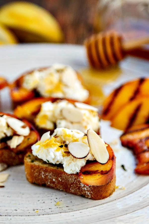 Bruschetta with Peaches, Lemon Ricotta and Honey
