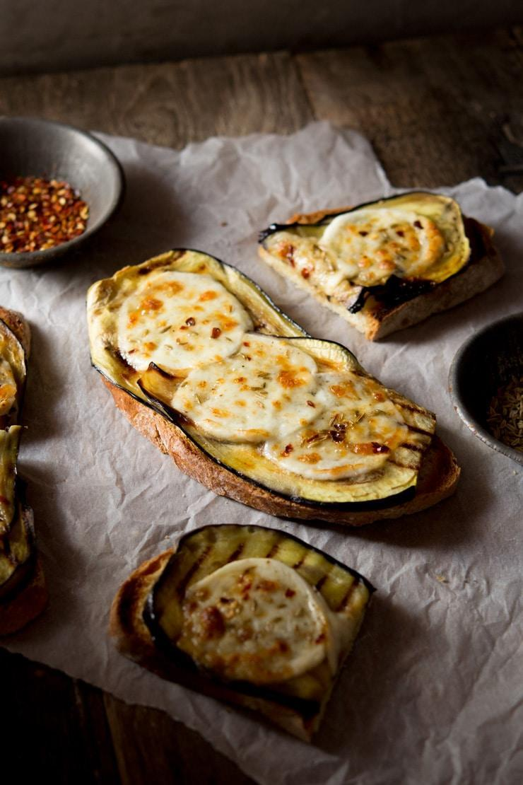 Aubergine Bruschetta with Mozzarella