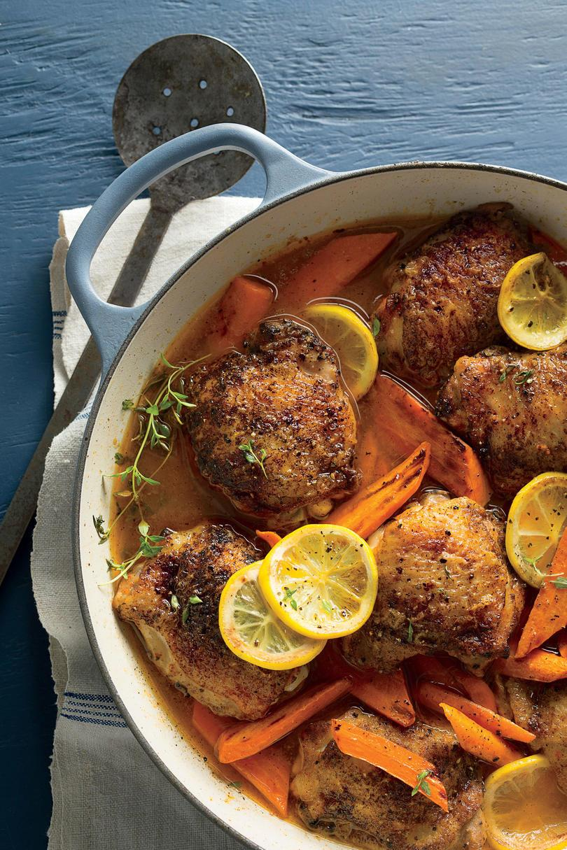 煮詰めた Chicken Thighs with Carrots and Lemons