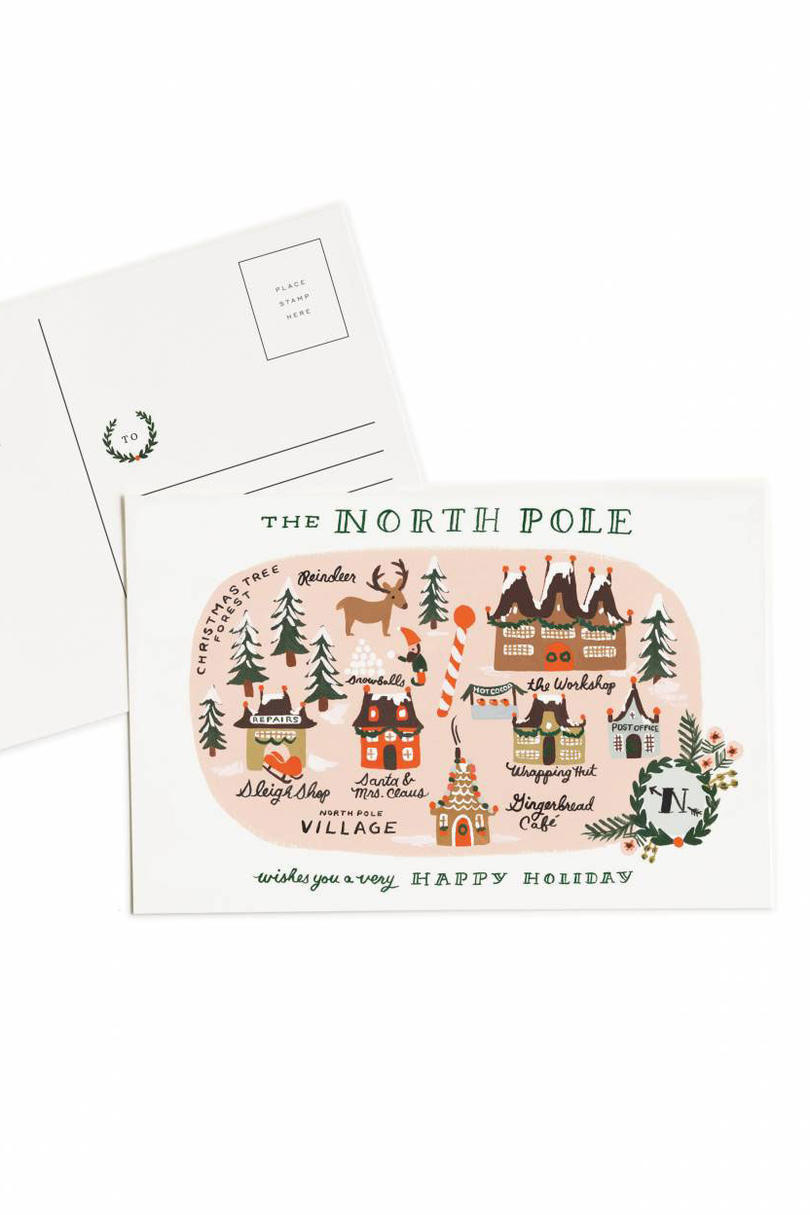 norte Pole Map Post Card