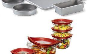 Calphalon Nonstick Bakeware 5-ks sada na pečení a Rubbermaid 12-ks Premier Food Storage Set