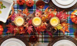 Centros de mesa hermosa vela para su mesa de acción de gracias
